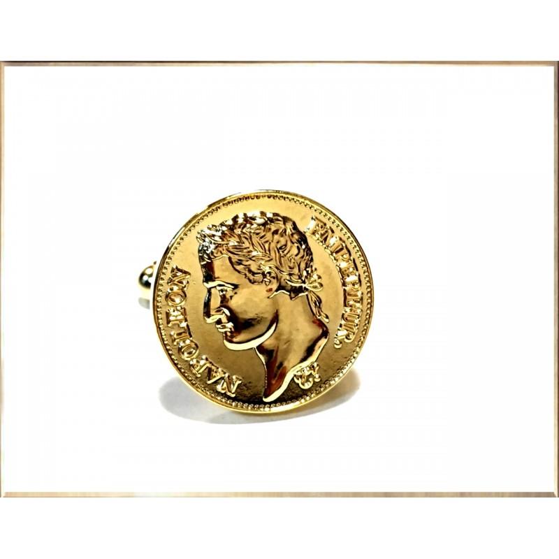 Boutons de manchettes Napoléon plaqués or