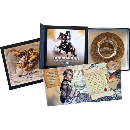 Coffret Assiette en cuivre argent-Livret «Napoléon et la Grande Armée»